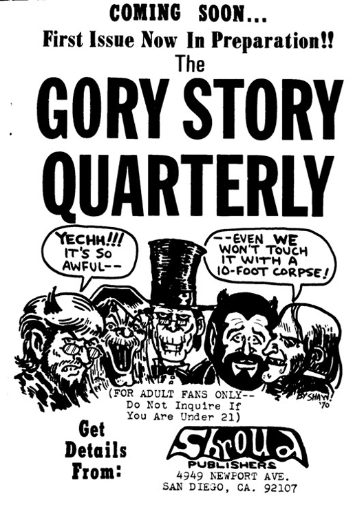Ad for The Gory Story Quarterly from the Program Book for Comic-Con #1