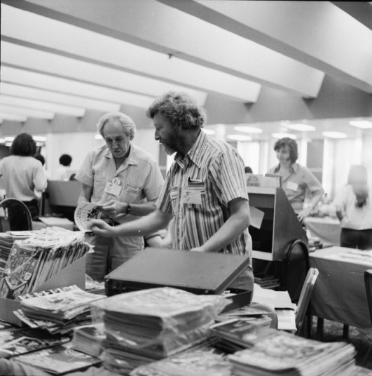 Ken Krueger (center foreground) and William Crawford at 1974 Comic-Con