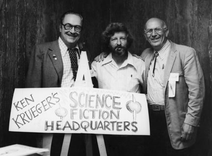 Chairman Ken Krueger (center), Fan #1 Forry Ackerman (left), and professional photographer Walt Daugherty at Comic-Con #1 in 1970