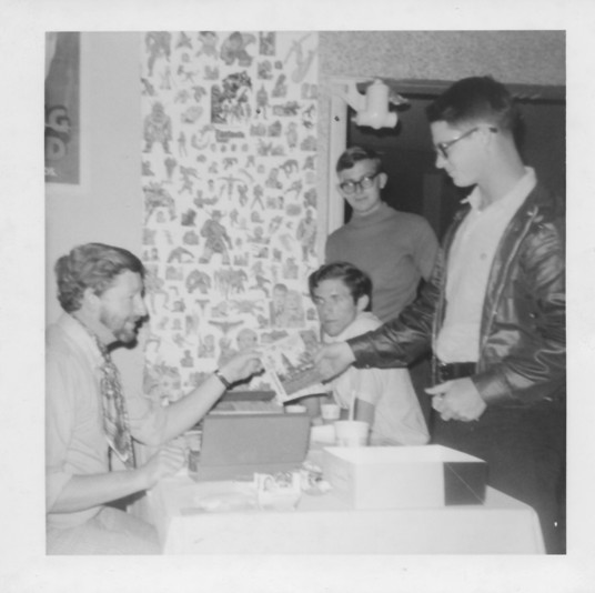 At the March 1970 Comic-Minicon, left to right: Ken Krueger, Dave Clark, Greg Bear, and unknown
