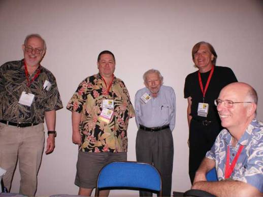 Some of the original Comic-Con gang at Comic-Con International 2009. Left to right: Greg Bear, Scott Shaw!, Ken Krueger, Bill Lund, and Mike Towry.