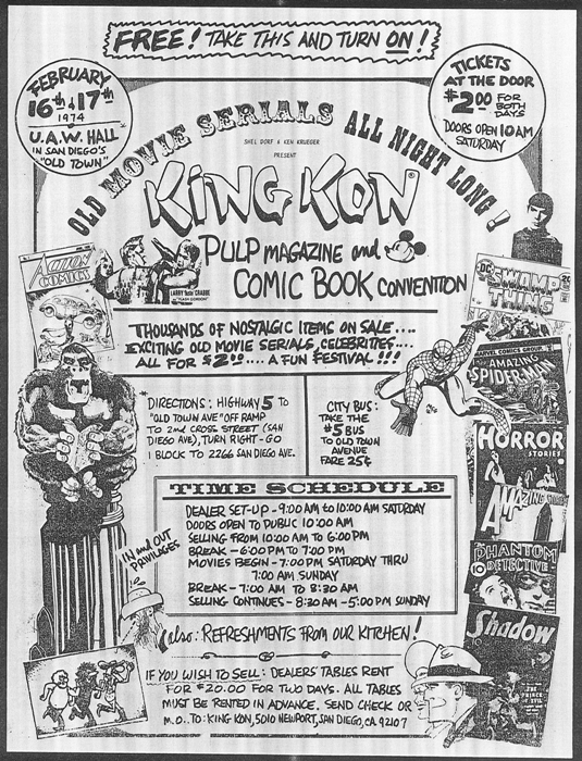 Flyer for Shel Dorf and Ken Krueger's King Kon