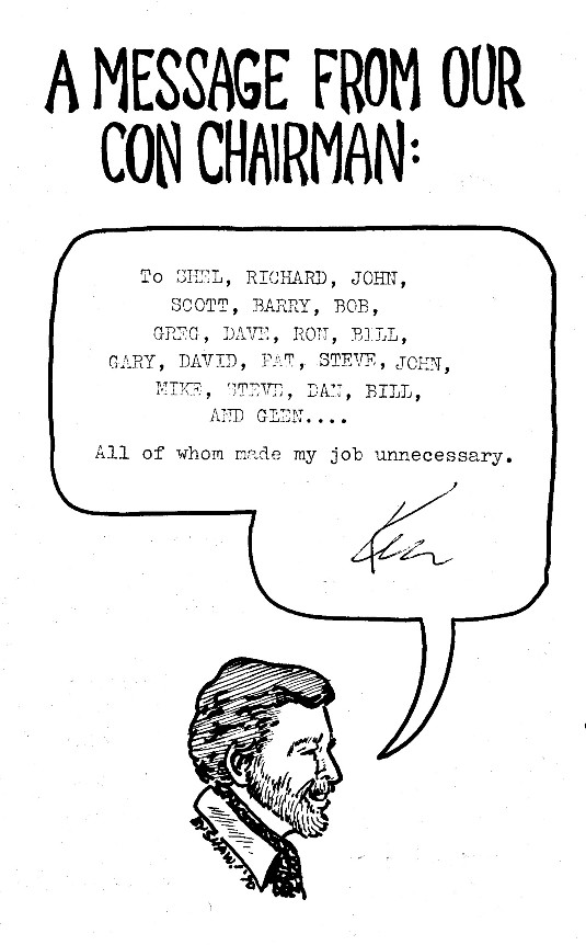 Message From Chairman Ken Krueger from 1970 Comic-Con #1 Program Book